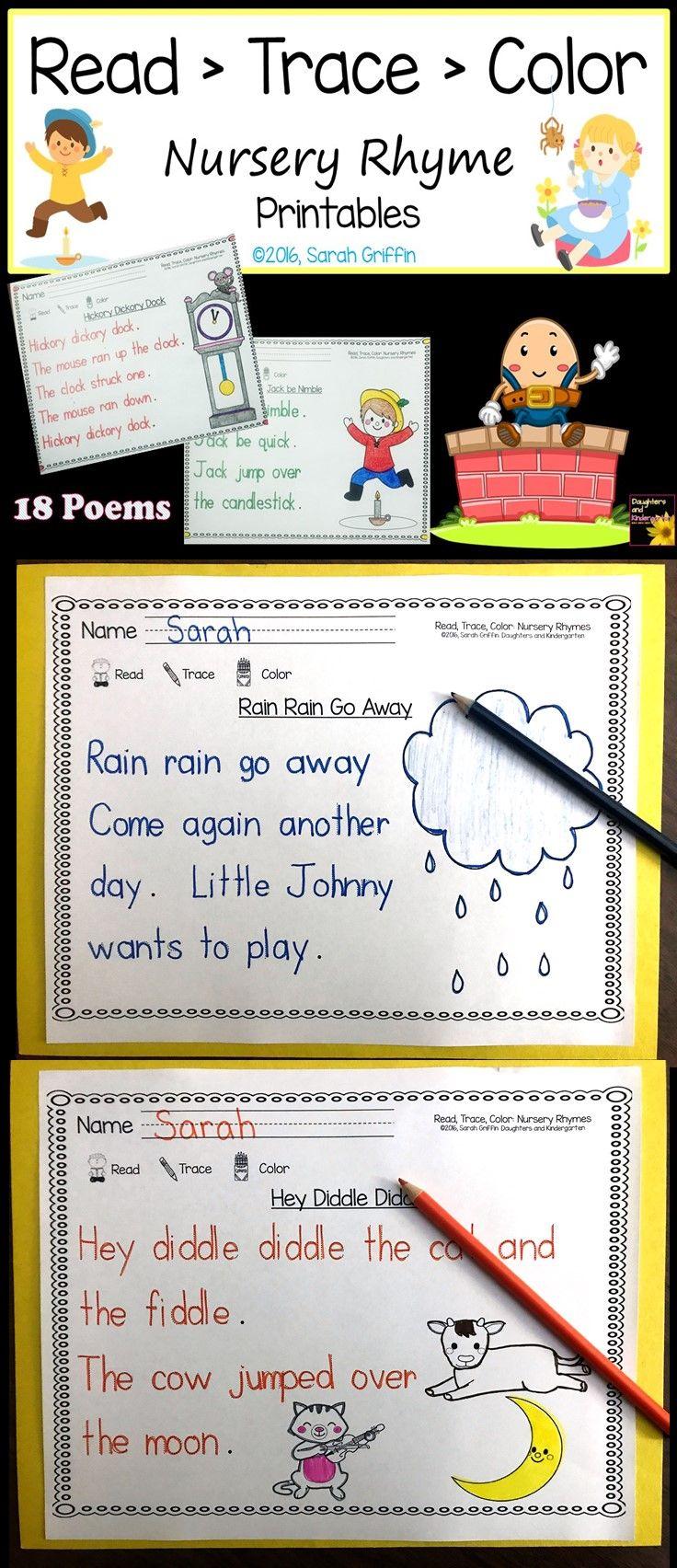 Read Trace Color ~ Nursery Rhyme Printables   Nursery Rhymes