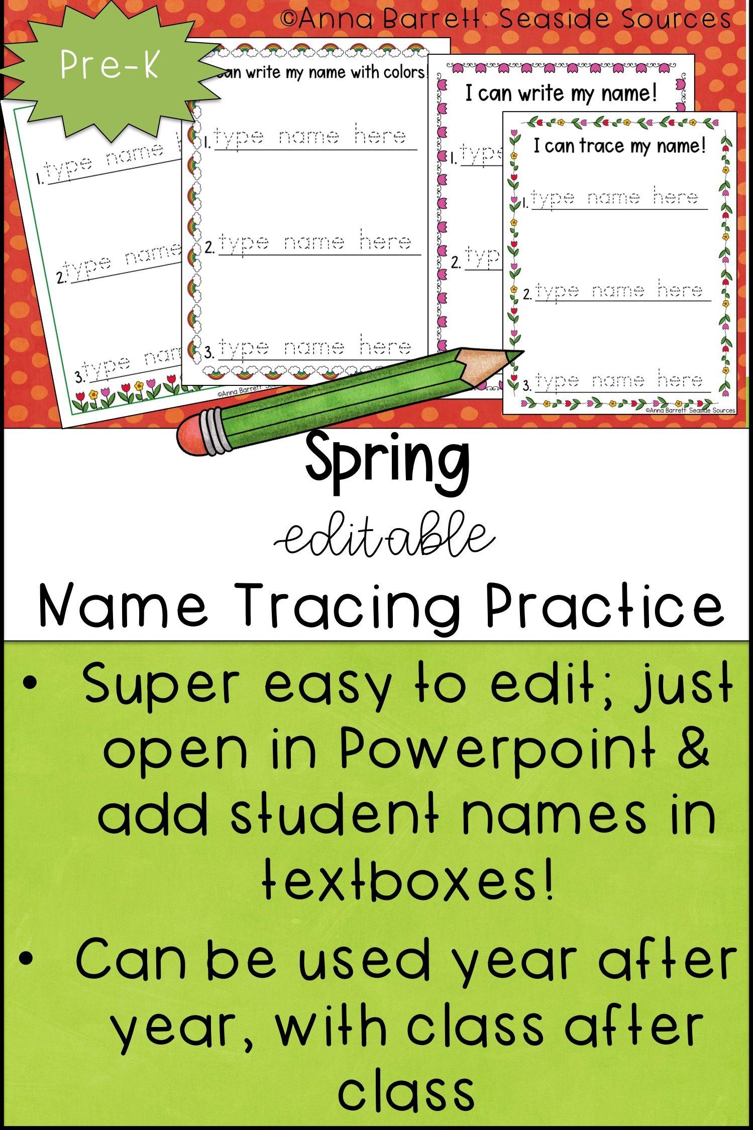 Spring Editable Name Tracing Practice   Name Tracing, Name