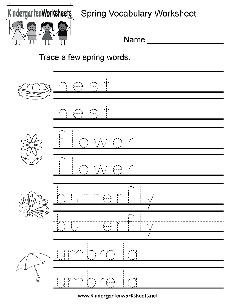Spring Vocabulary Worksheet For Kindergarten Kids. Children