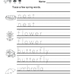Spring Vocabulary Worksheet For Kindergarten Kids. Children