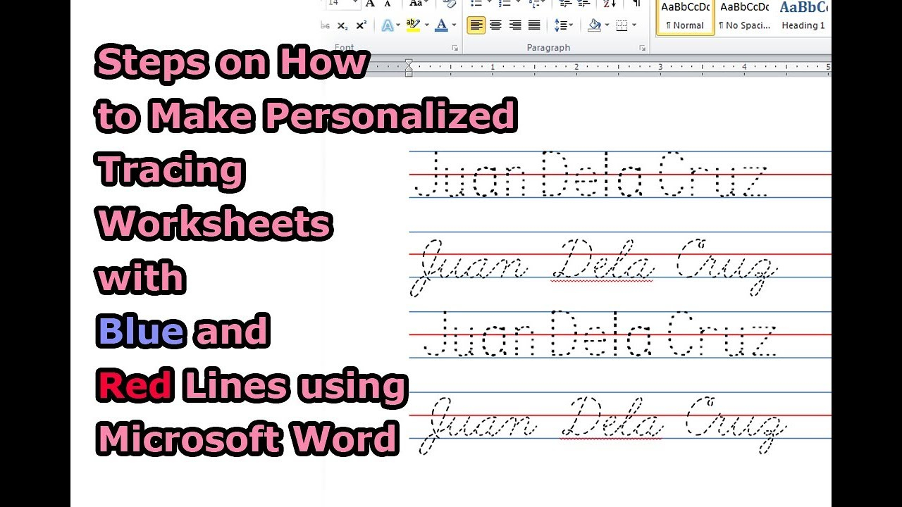 Steps On How To Make Personalized Tracing Worksheets With Blue And Red  Lines Using Microsoft Word