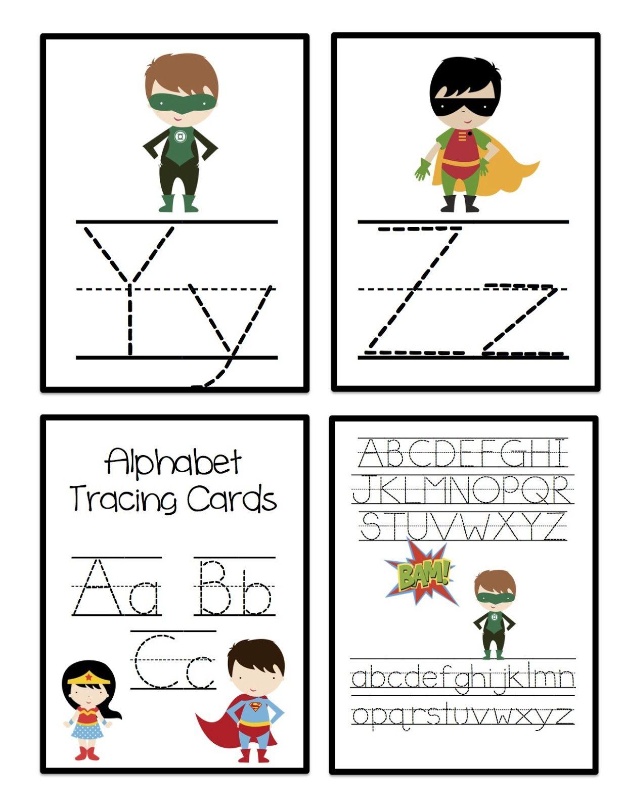Super Hero Alphabet Tracing Cards | Alphabet Tracing