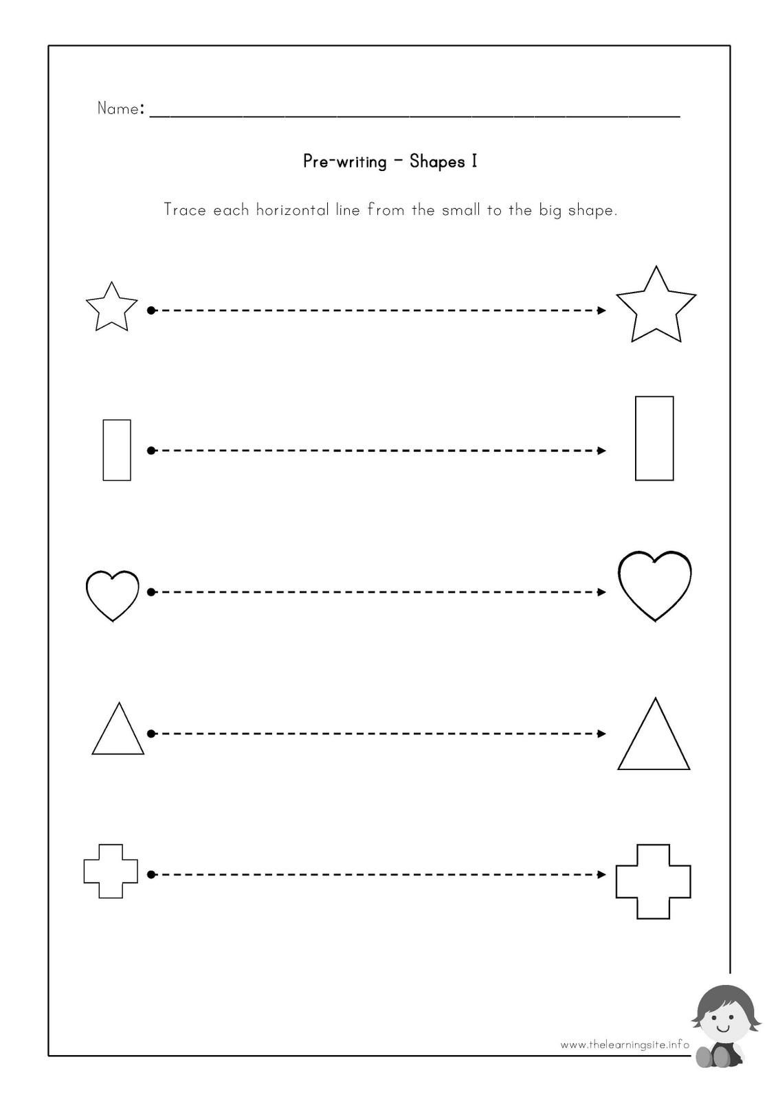The Learning Site: Pre-Writing Worksheets - Shapes | Pre