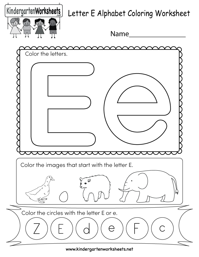 This Is A Fun Letter E Coloring Worksheet. Kids Can Color