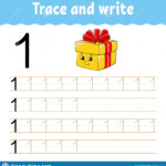 Trace And Write. Handwriting Practice. Learning Numbers For