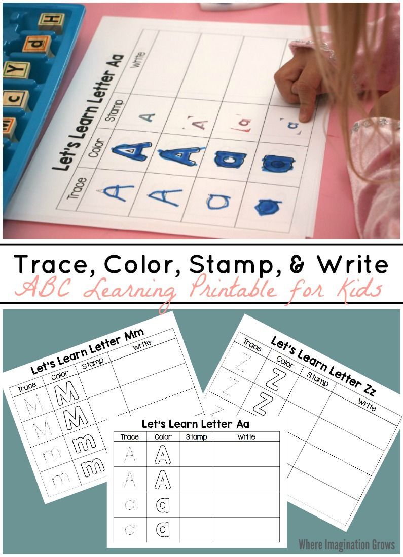 Trace, Color, Stamp & Write - Abc Printable For Kids | Abc