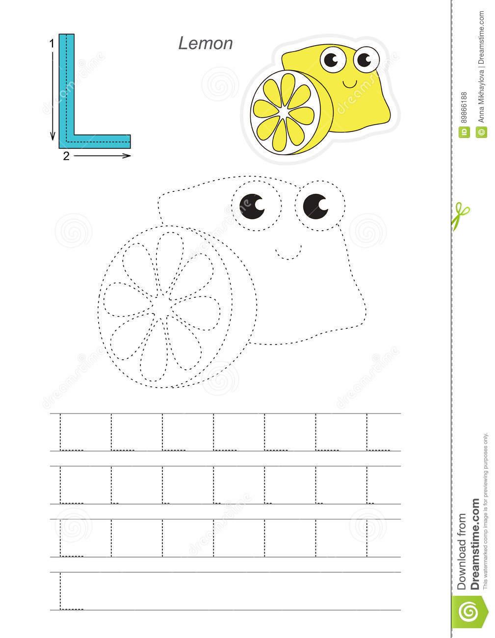 Trace Game For Letter L. Lemon. Stock Vector - Illustration