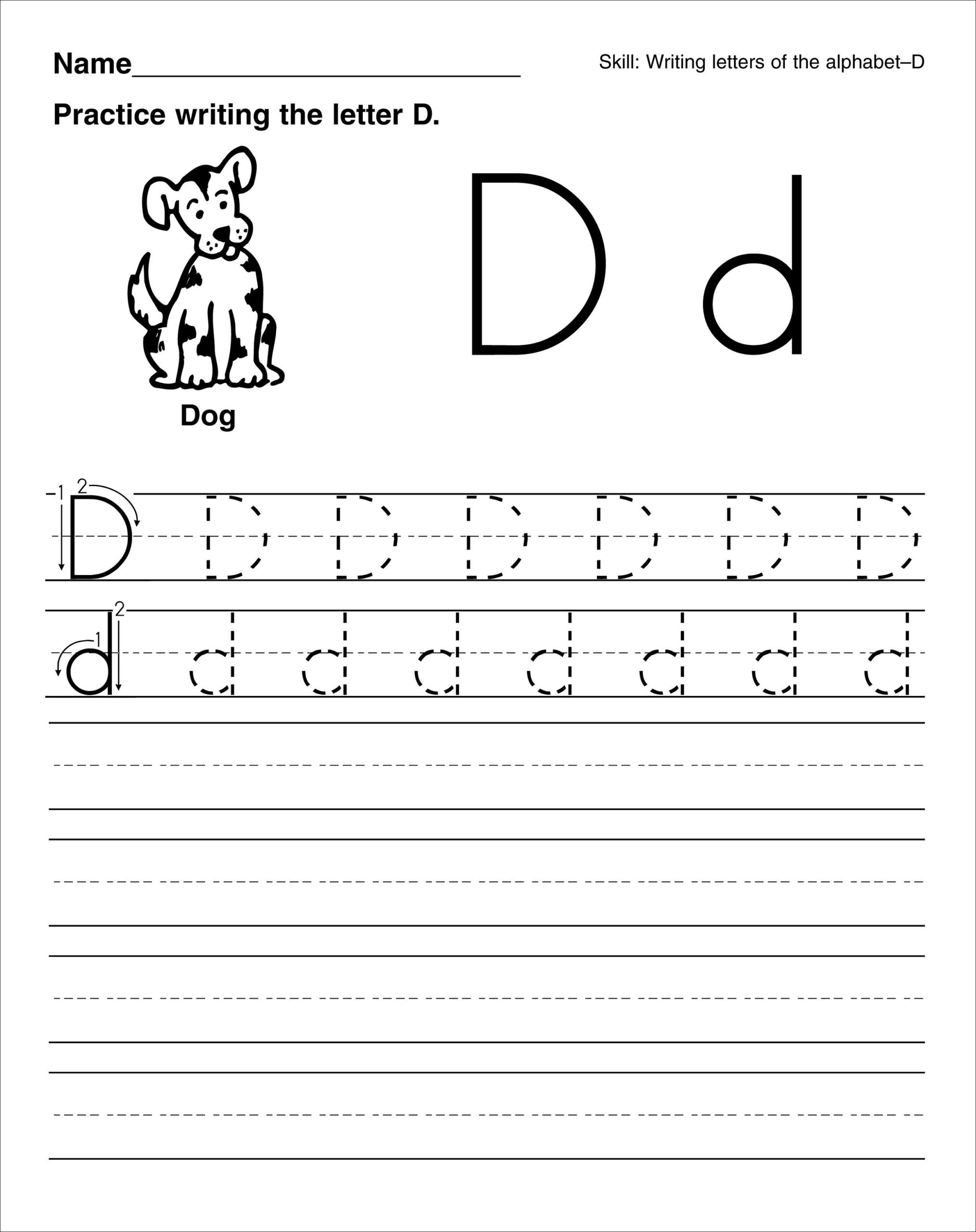 Trace Letter D Worksheets | Activity Shelter