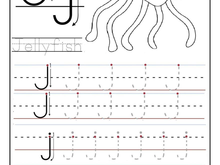 Trace-Letters-Worksheet-J-Letter (1236×1600) | Preschool