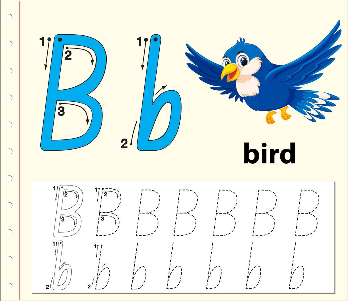 Trace The Letter B Template - Download Free Vectors, Clipart