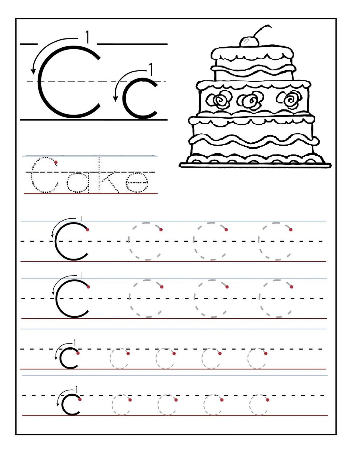 Trace The Letter C Worksheets | Preschool Letters, Letter