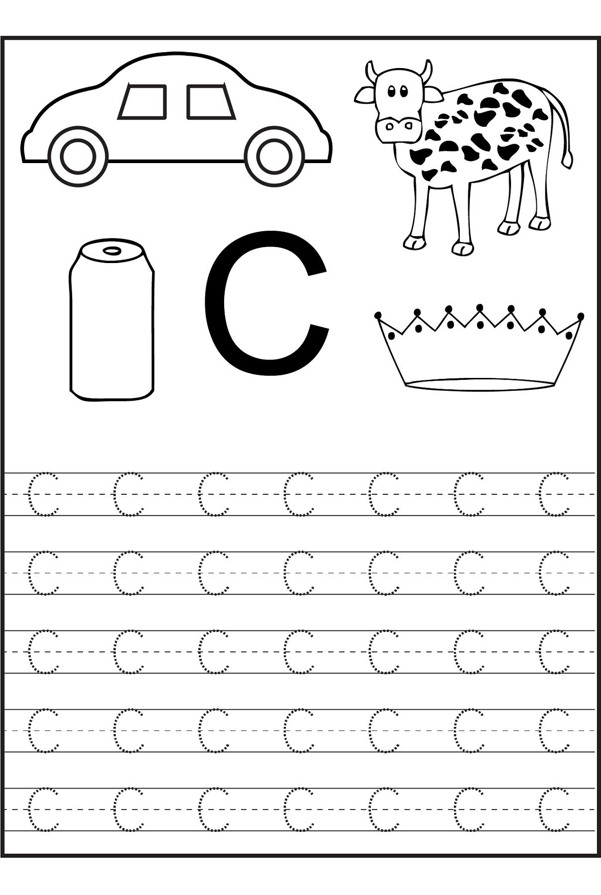 Trace The Letter C Worksheets Preschool Worksheets, Letter C