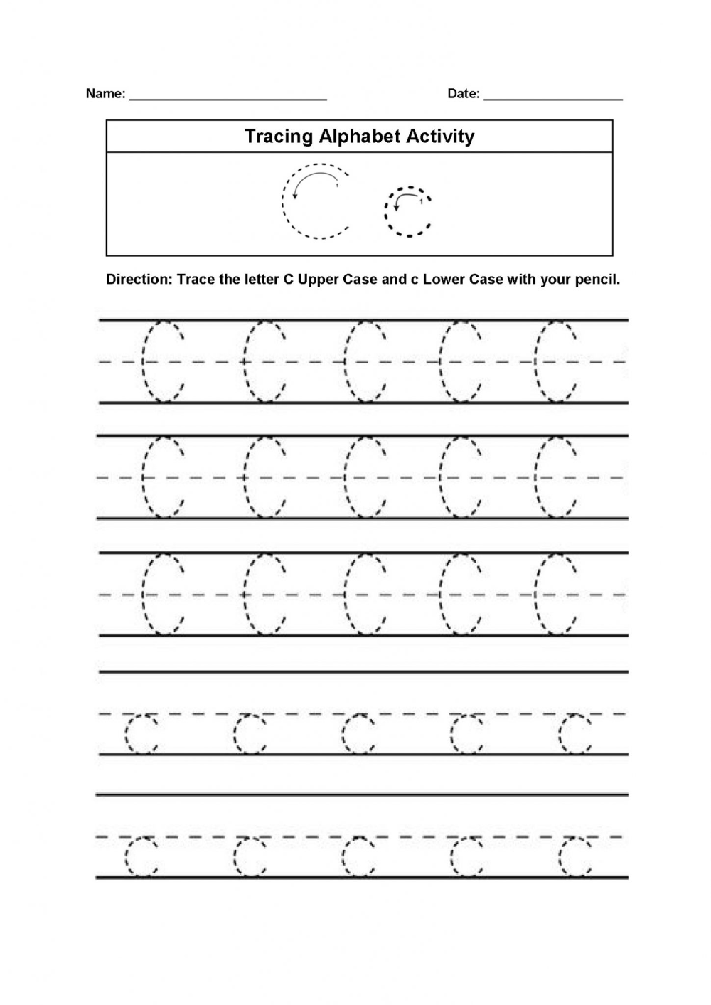 Trace The Letter C Worksheets Printable In 2020 | Letter C