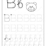 Tracing Alphabet Letter B. Black And White Educational Pages