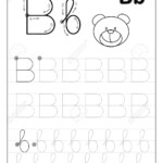 Tracing Alphabet Letter B. Black And White Educational Pages..