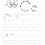 Tracing Alphabet Letter C. Black And White Educational Pages