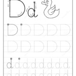 Tracing Alphabet Letter D. Black And White Educational Pages