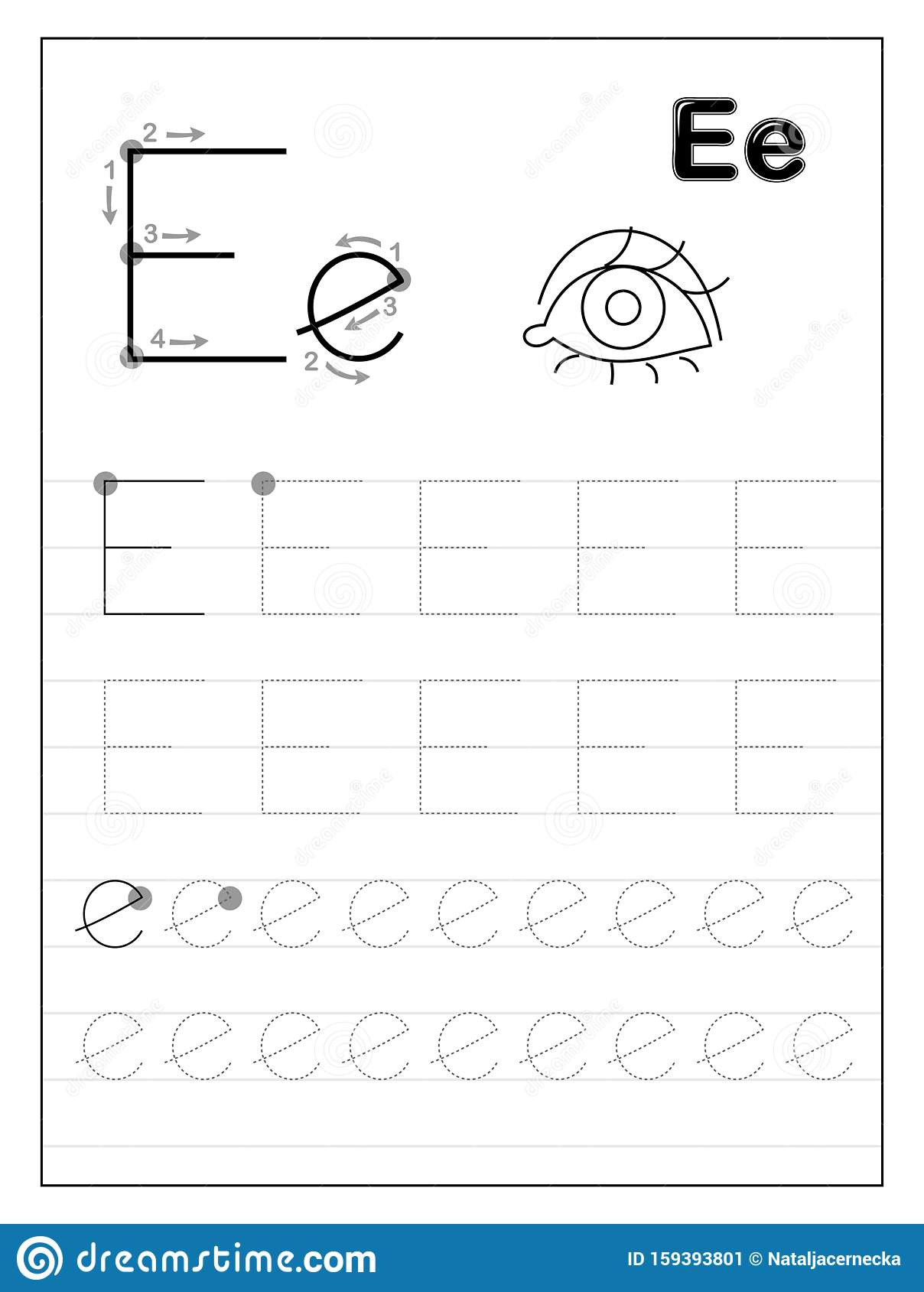 Tracing Alphabet Letter E. Black And White Educational Pages