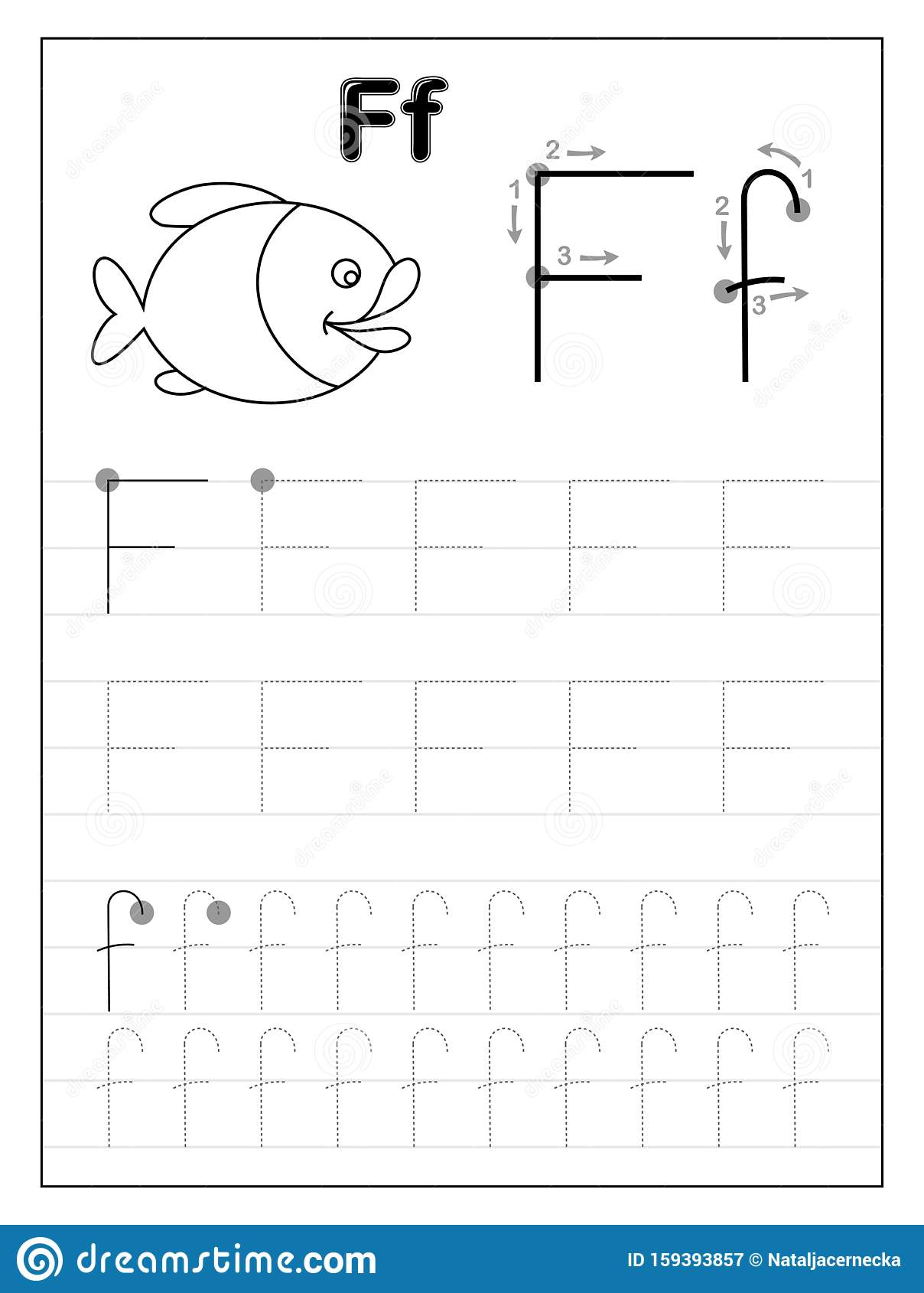 Tracing Alphabet Letter F. Black And White Educational Pages