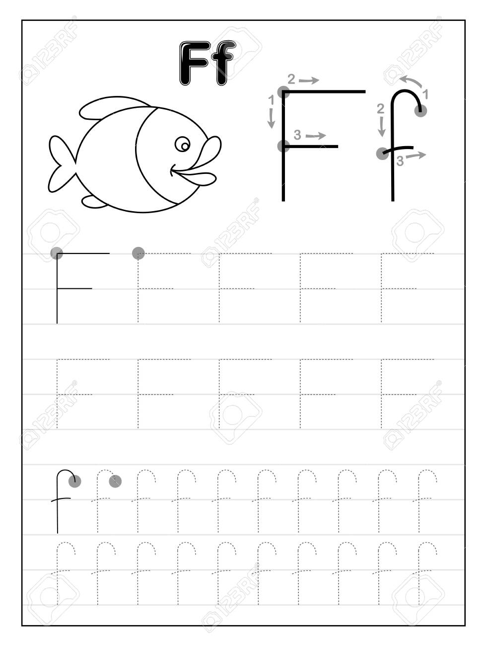 Tracing Alphabet Letter F. Black And White Educational Pages..