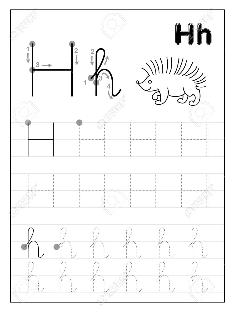 Tracing Alphabet Letter H. Black And White Educational Pages..