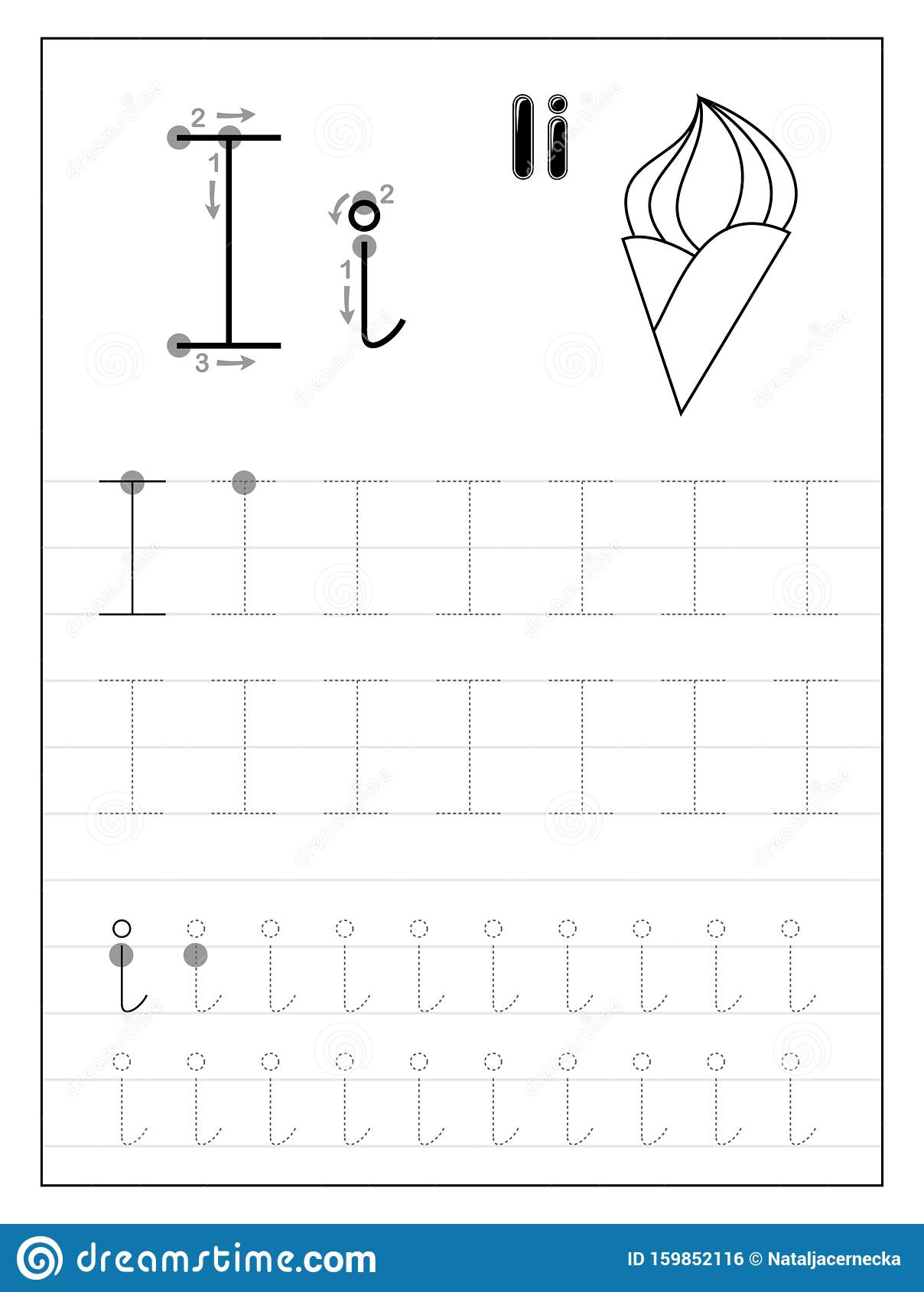 Tracing Alphabet Letter I. Black And White Educational Pages