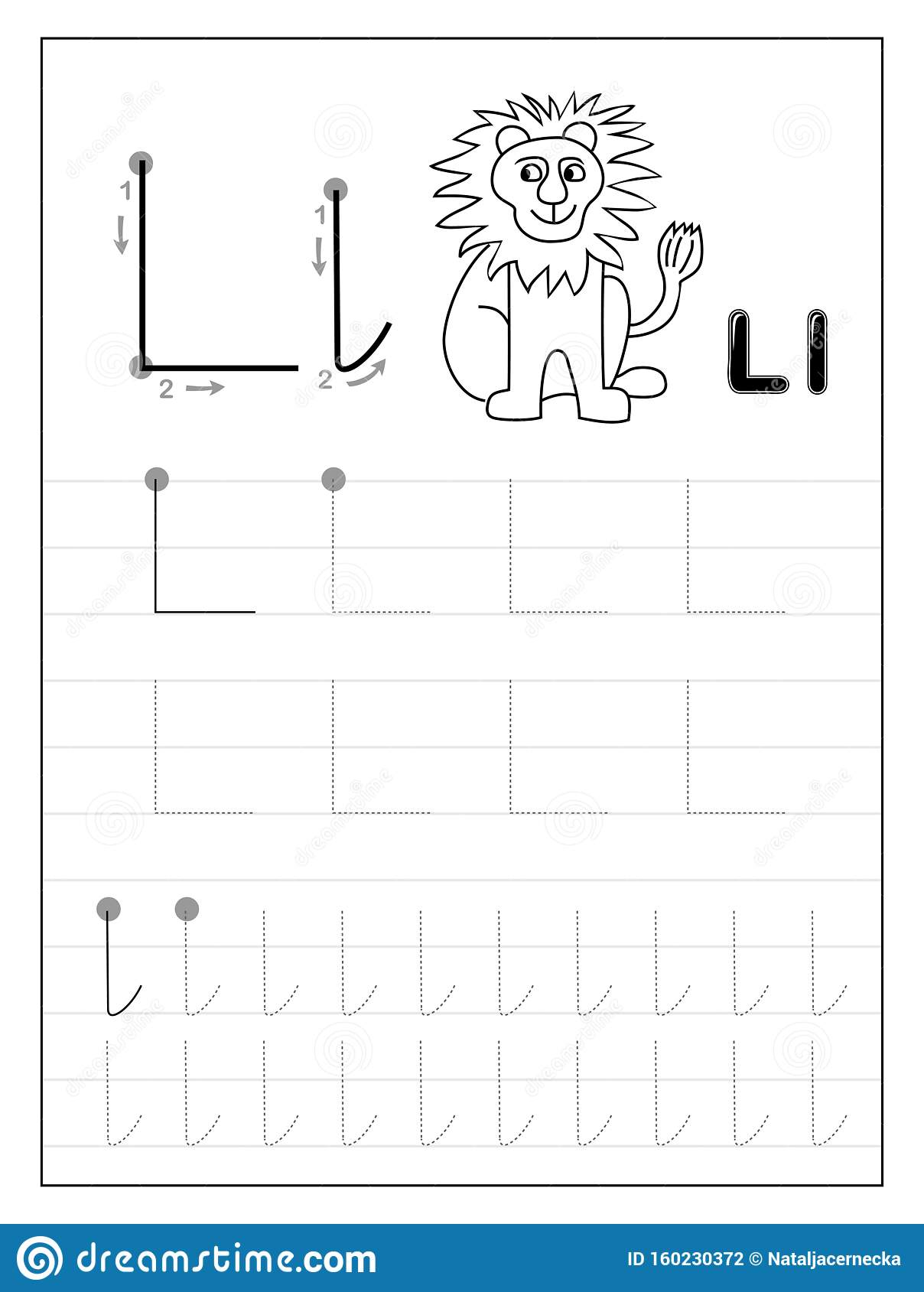 Tracing Alphabet Letter L. Black And White Educational Pages