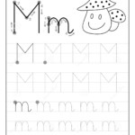 Tracing Alphabet Letter M. Black And White Educational Pages