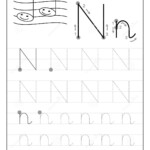 Tracing Alphabet Letter N. Black And White Educational Pages