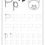 Tracing Alphabet Letter P. Black And White Educational Pages