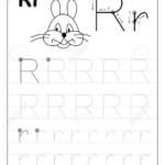 Tracing Alphabet Letter R. Black And White Educational Pages..