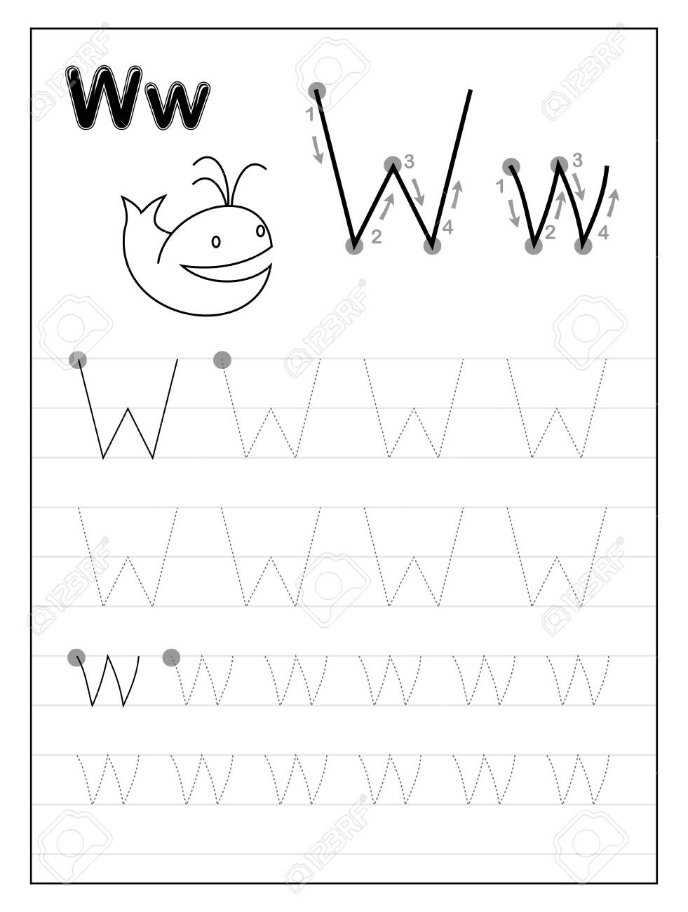 Tracing Alphabet Letter W. Black And White Educational Pages..