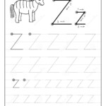 Tracing Alphabet Letter Z. Black And White Educational Pages