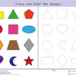 Tracing And Color The Geometric Shapes, Worksheet For Kids
