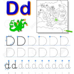 Tracing Letter D For Study Alphabet. Printable Worksheet For..