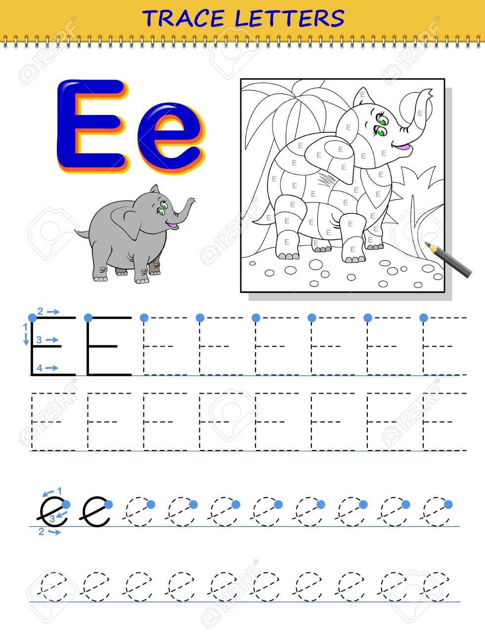 Tracing Letter E For Study Alphabet. Printable Worksheet For..