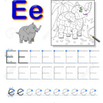 Tracing Letter E For Study Alphabet. Printable Worksheet For..