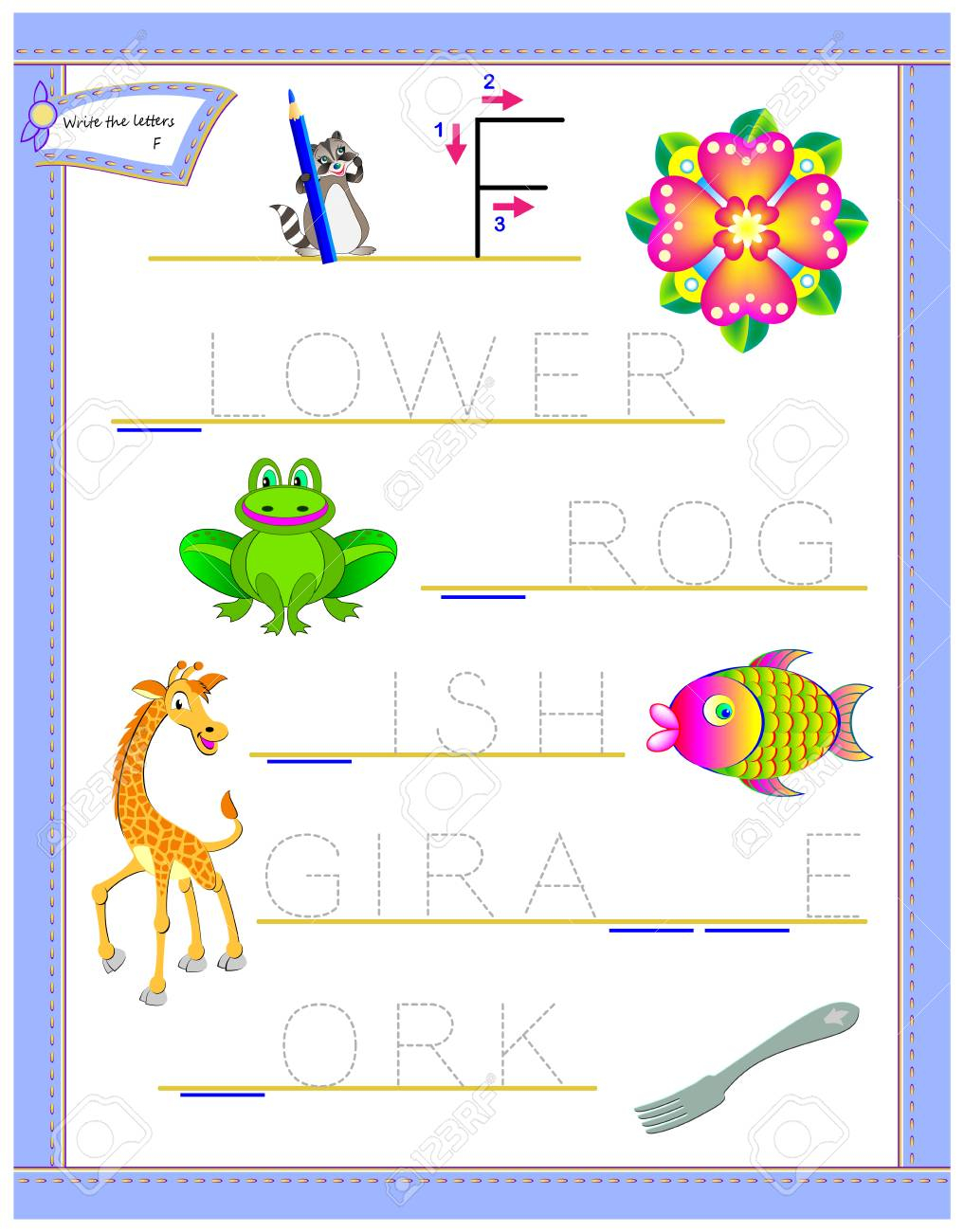 Tracing Letter F For Study English Alphabet. Printable Worksheet..