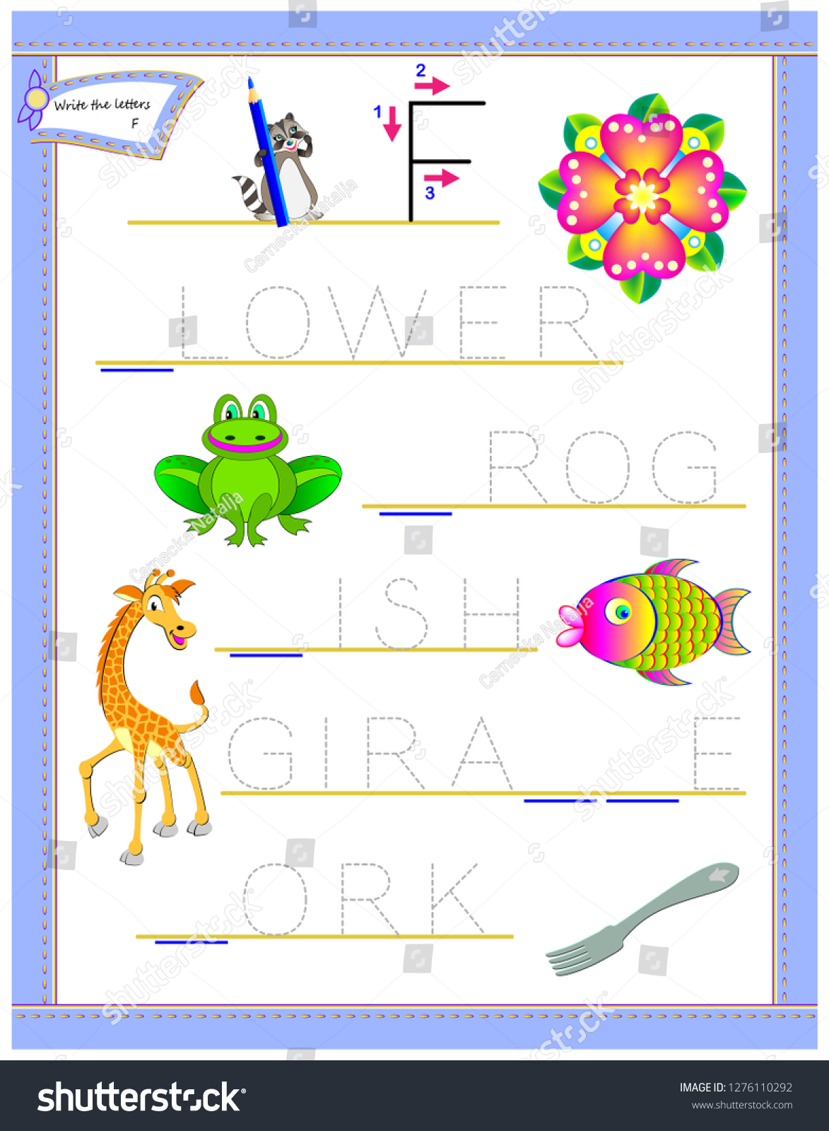 Tracing Letter F Study English Alphabet Arkivvektor