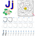 Tracing Letter J For Study Alphabet. Printable Worksheet For..