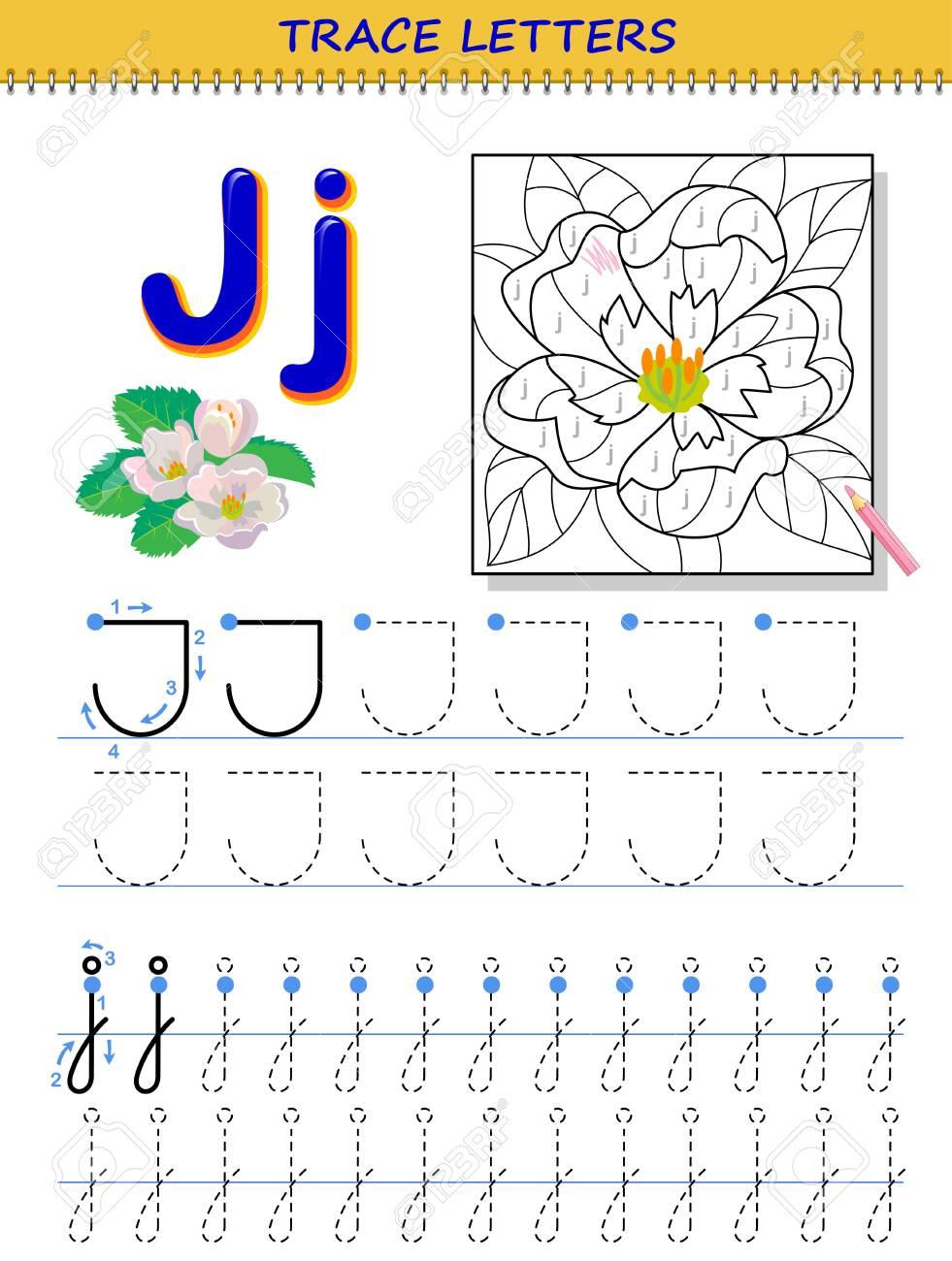 Tracing Letter J For Study Alphabet. Printable Worksheet For..