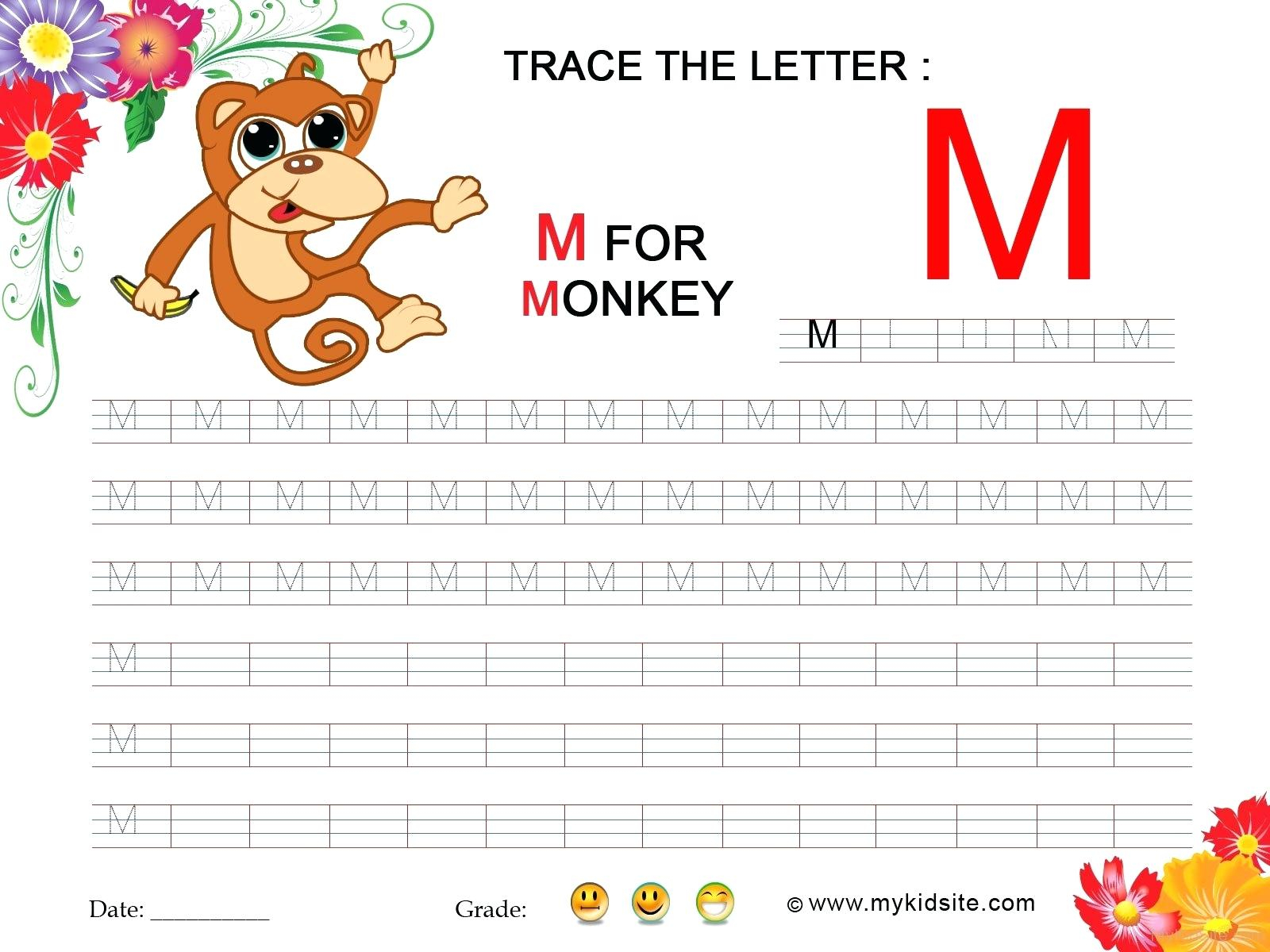 Tracing Letter M Tracing Letter For Toddlers