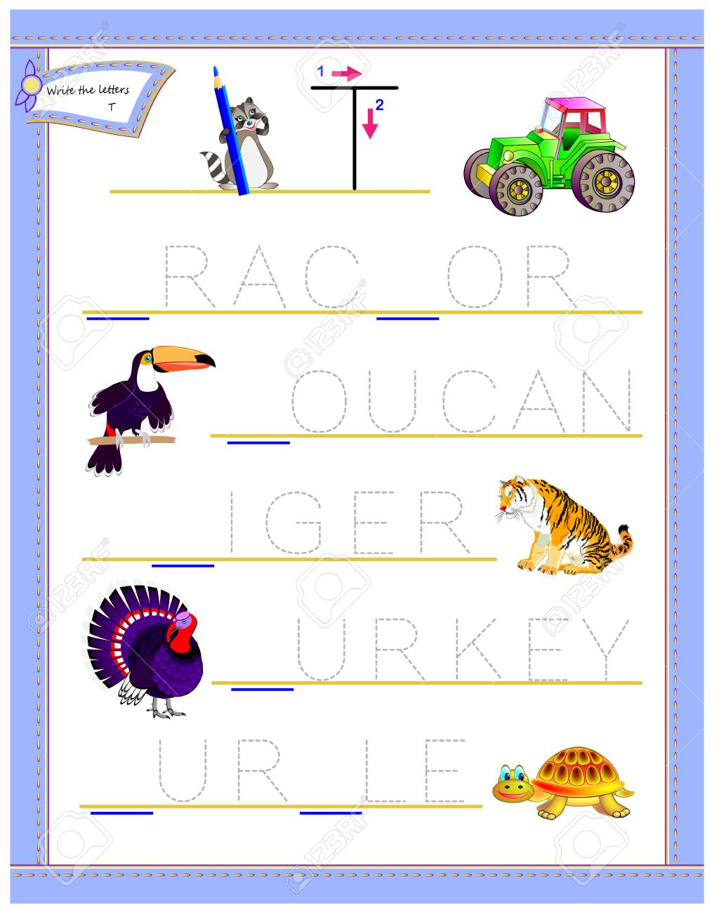 Tracing Letter T For Study English Alphabet. Printable Worksheet..
