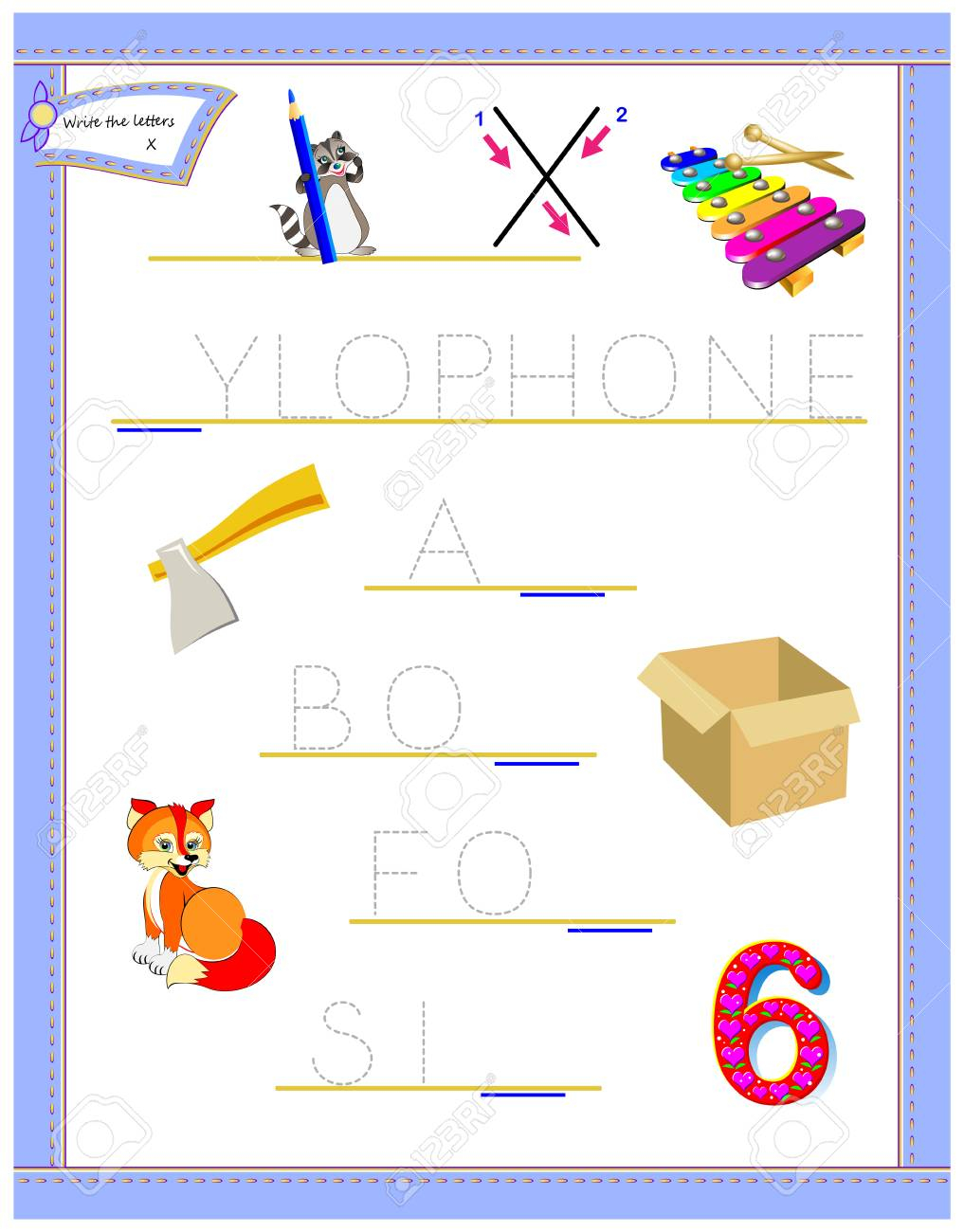 Tracing Letter X For Study English Alphabet. Printable Worksheet..