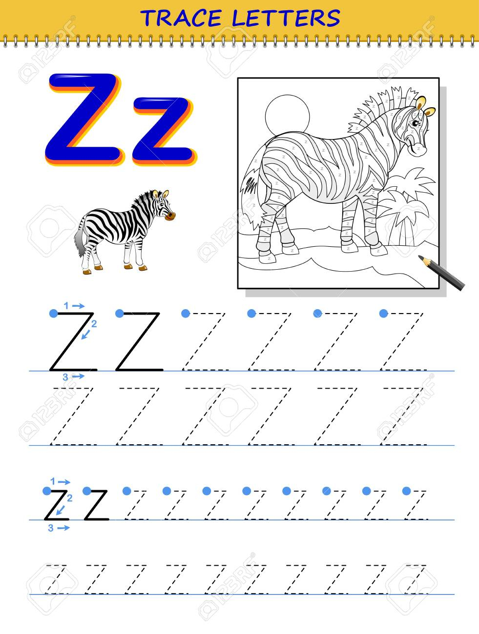 Tracing Letter Z For Study Alphabet. Printable Worksheet For..