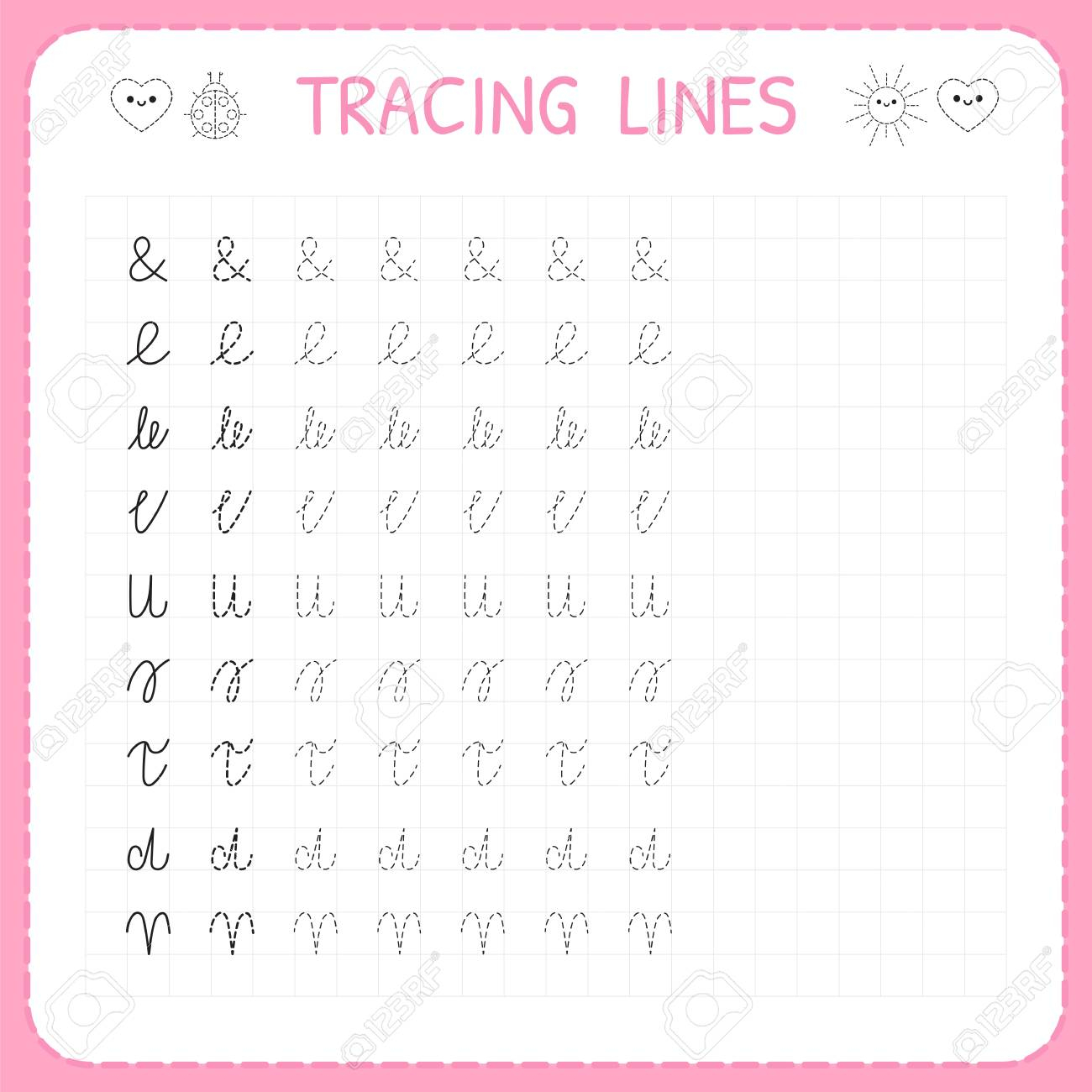 Tracing Lines. Basic Writing. Worksheet For Kids. Working Pages..