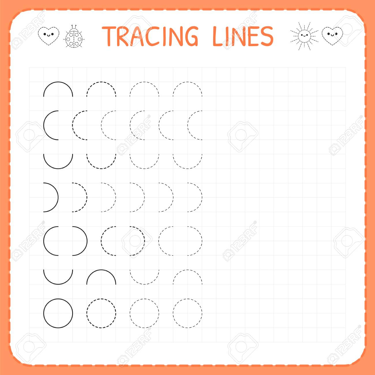 Tracing Lines. Worksheet For Kids. Basic Writing. Working Pages..