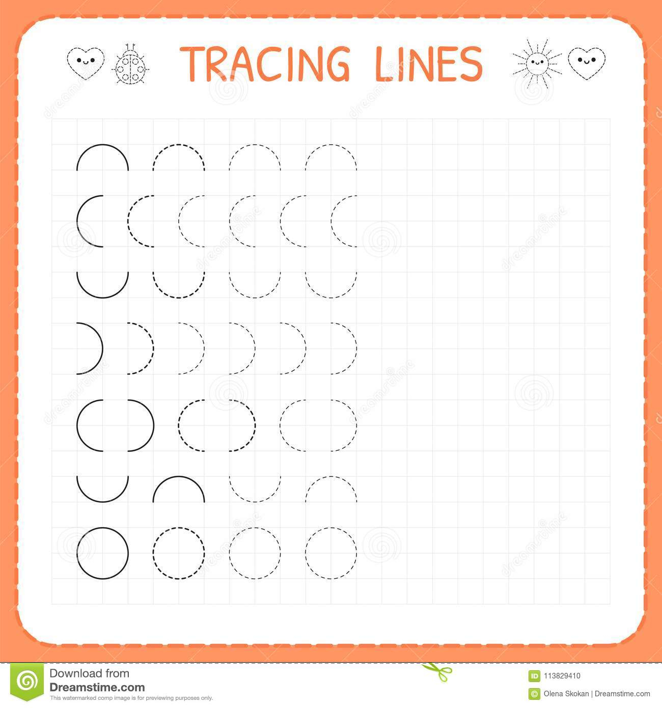 Tracing Lines. Worksheet For Kids. Basic Writing. Working