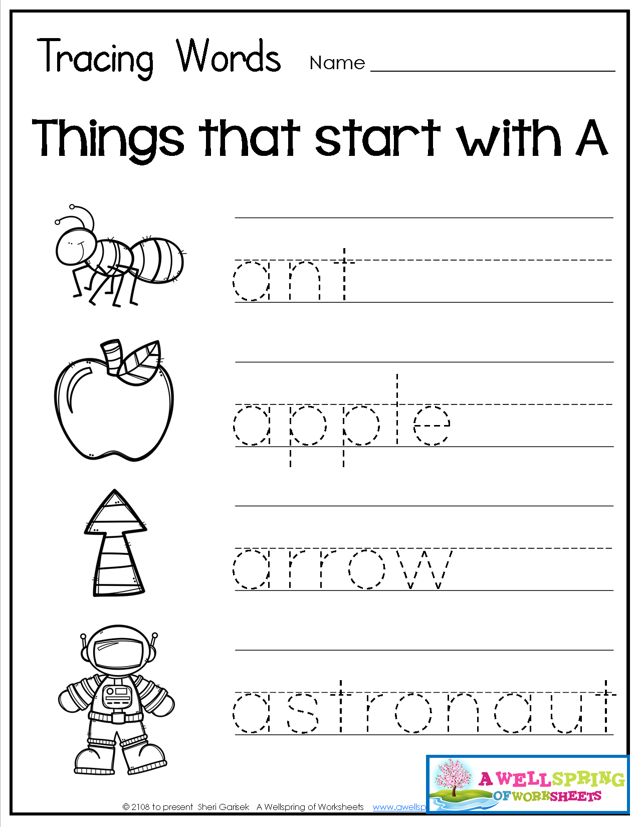 Tracing Words - Things That Start With A-Z   Alphabet