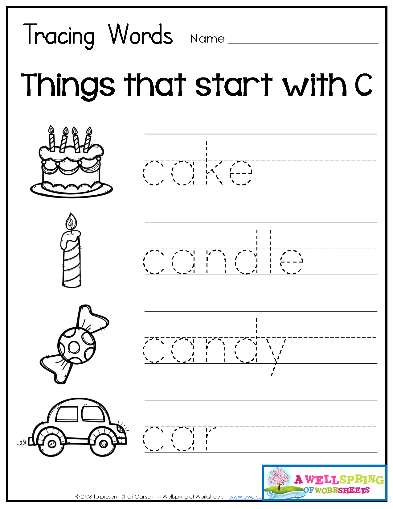 Tracing Words - Things That Start With A-Z   English